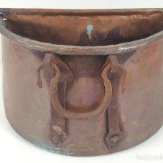 Antigüedades: ANTIGUO MACETERO EN COBRE. ASAS EN HIERRO FORJADO. ESPAÑA. SIGLO XIX.. Lote 92815750