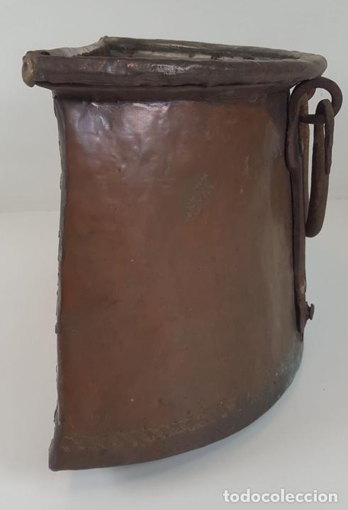 Antigüedades: ANTIGUO MACETERO EN COBRE. ASAS EN HIERRO FORJADO. ESPAÑA. SIGLO XIX. - Foto 2 - 92815750