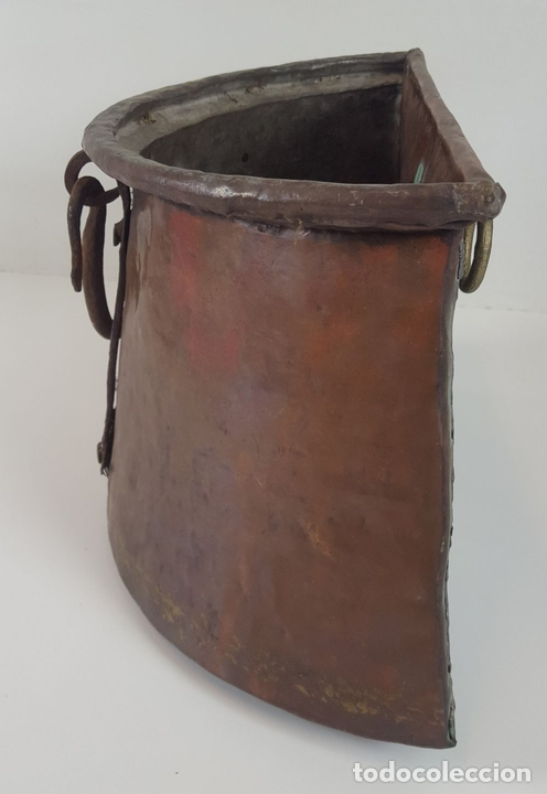 Antigüedades: ANTIGUO MACETERO EN COBRE. ASAS EN HIERRO FORJADO. ESPAÑA. SIGLO XIX. - Foto 3 - 92815750