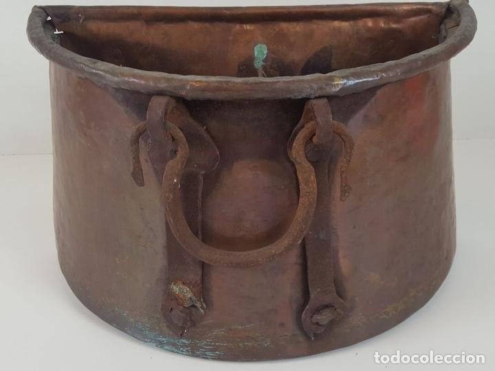 Antigüedades: ANTIGUO MACETERO EN COBRE. ASAS EN HIERRO FORJADO. ESPAÑA. SIGLO XIX. - Foto 5 - 92815750
