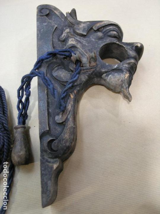 Antigüedades: ESPECTACULAR LOTE CORTINEROS MADERA CORTINA CORTINERO ANTIGUOS. VER FOTOS - Foto 2 - 92851865