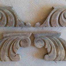 Antigüedades: LOTE DE 2 PAREJAS DE PATAS PARA MUEBLE EN MADERA. Lote 92856550