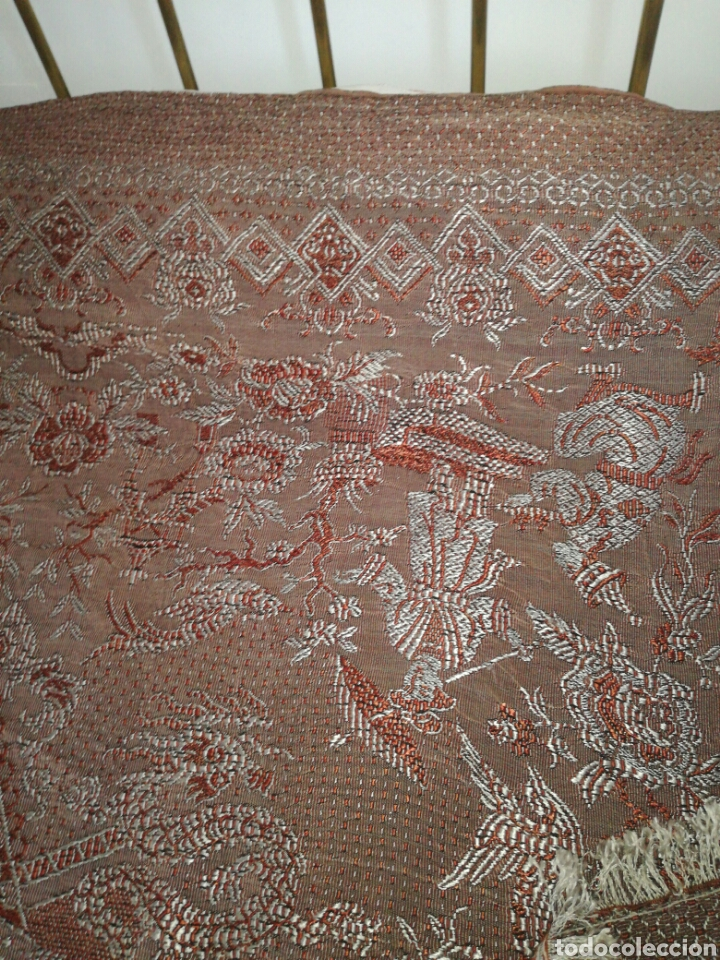 Antigüedades: Antigua colcha de sedina recia - Foto 5 - 92867800