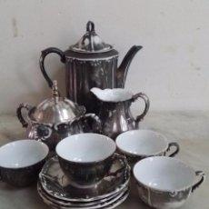 Antigüedades: JUEGO CAFÉ - PORCELANA PLATEADA BAVARIA. Lote 92870510