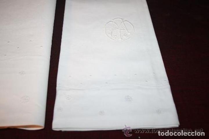 Antigüedades: PRECIOSO JUEGO DE CAMA PARA MATRIMONIO EN ALGODÓN FINO Y CON BORDADOS . FINALES S. XIX - Foto 16 - 199409865