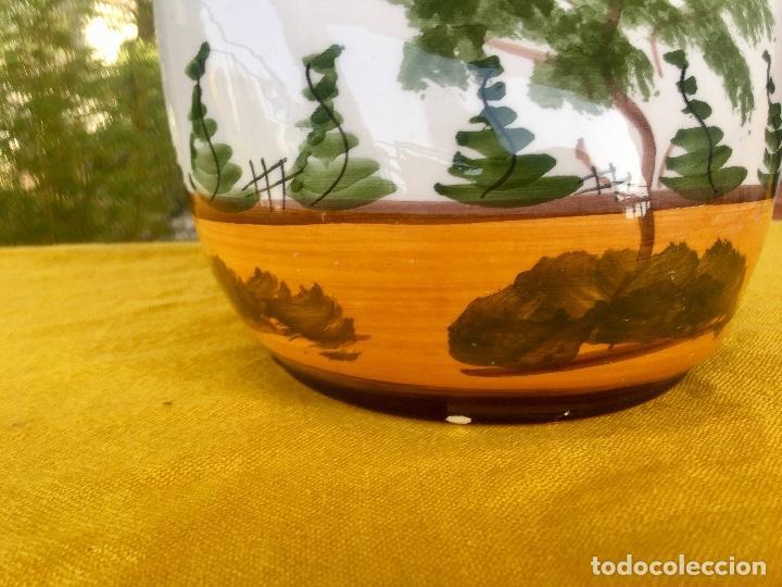 Antigüedades: Botijo loza ceramica valencia manises pintado a mano paisaje barraca forma gallina 1960 - Foto 5 - 92873930