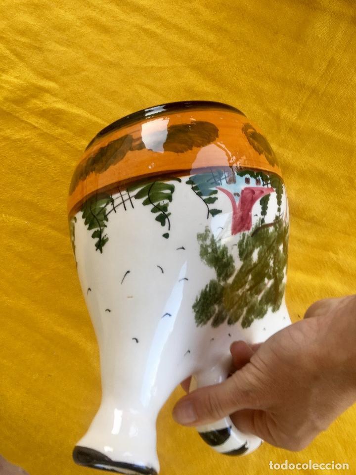 Antigüedades: Botijo loza ceramica valencia manises pintado a mano paisaje barraca forma gallina 1960 - Foto 13 - 92873930