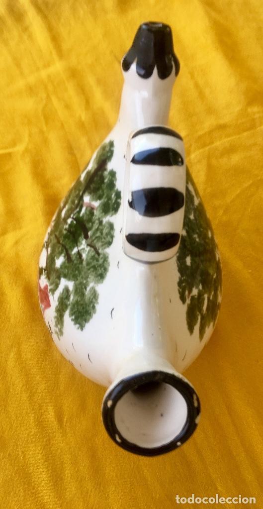 Antigüedades: Botijo loza ceramica valencia manises pintado a mano paisaje barraca forma gallina 1960 - Foto 14 - 92873930