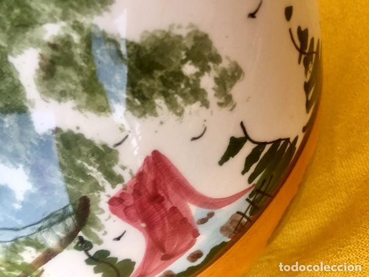Antigüedades: Botijo loza ceramica valencia manises pintado a mano paisaje barraca forma gallina 1960 - Foto 16 - 92873930