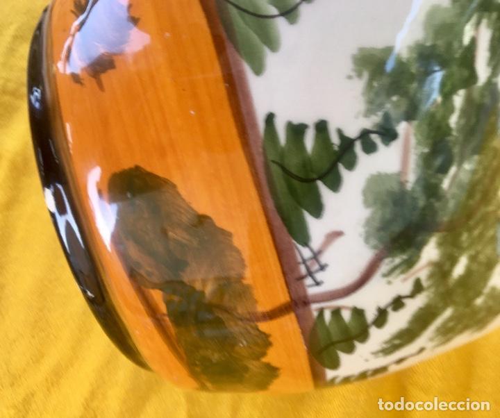 Antigüedades: Botijo loza ceramica valencia manises pintado a mano paisaje barraca forma gallina 1960 - Foto 21 - 92873930
