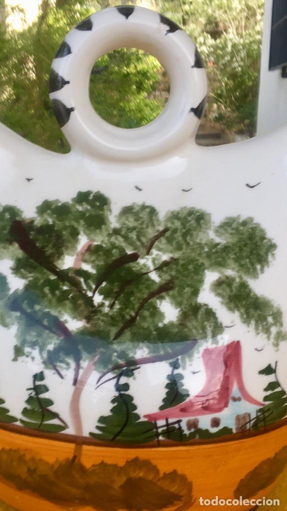 Antigüedades: Botijo loza ceramica valencia manises pintado a mano paisaje barraca forma gallina 1960 - Foto 23 - 92873930