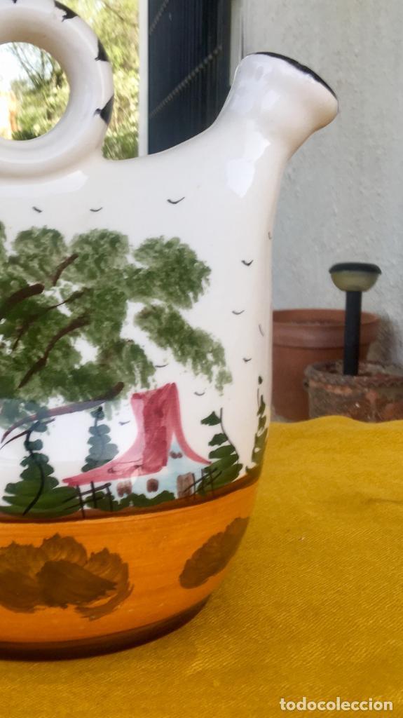 Antigüedades: Botijo loza ceramica valencia manises pintado a mano paisaje barraca forma gallina 1960 - Foto 24 - 92873930