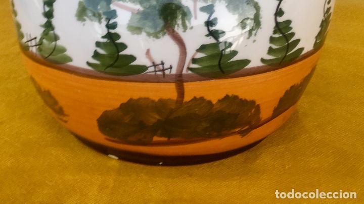Antigüedades: Botijo loza ceramica valencia manises pintado a mano paisaje barraca forma gallina 1960 - Foto 25 - 92873930