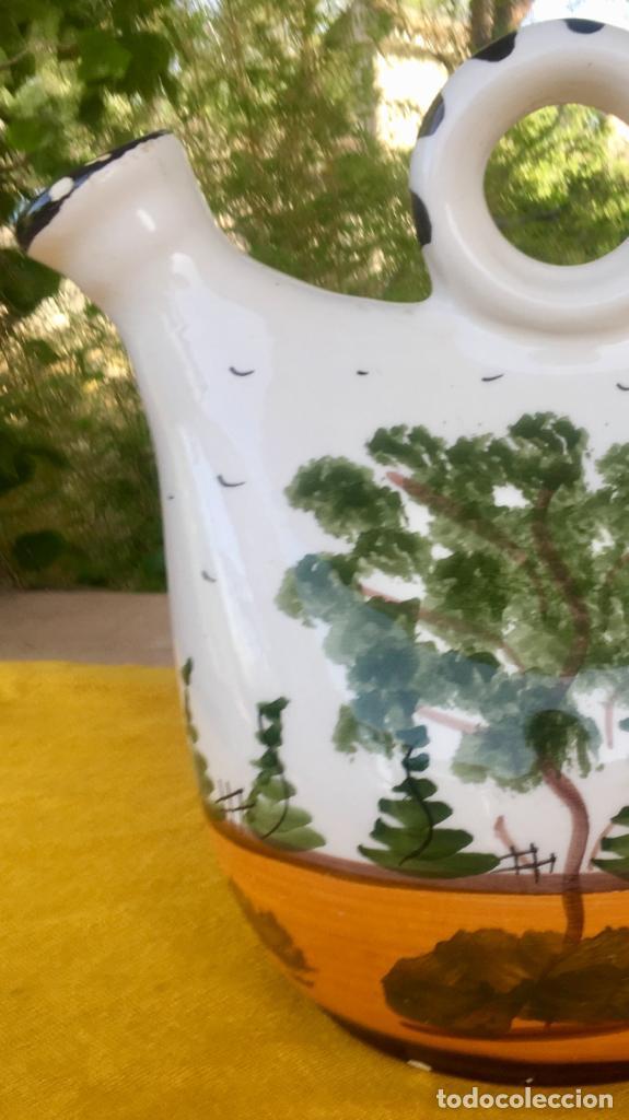 Antigüedades: Botijo loza ceramica valencia manises pintado a mano paisaje barraca forma gallina 1960 - Foto 26 - 92873930