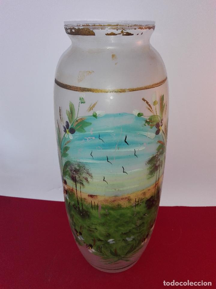 Jarron De Cristal Pintado Al Oleo