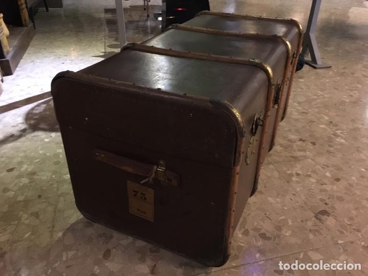 Antigüedades: baúl antiguo arcón de viaje cartone madera y bronce - Foto 4 - 92891747
