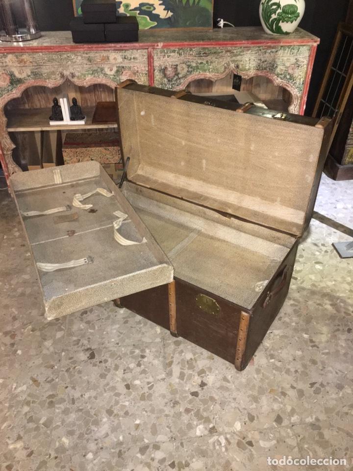 Antigüedades: baúl antiguo arcón de viaje cartone madera y bronce - Foto 10 - 92891747