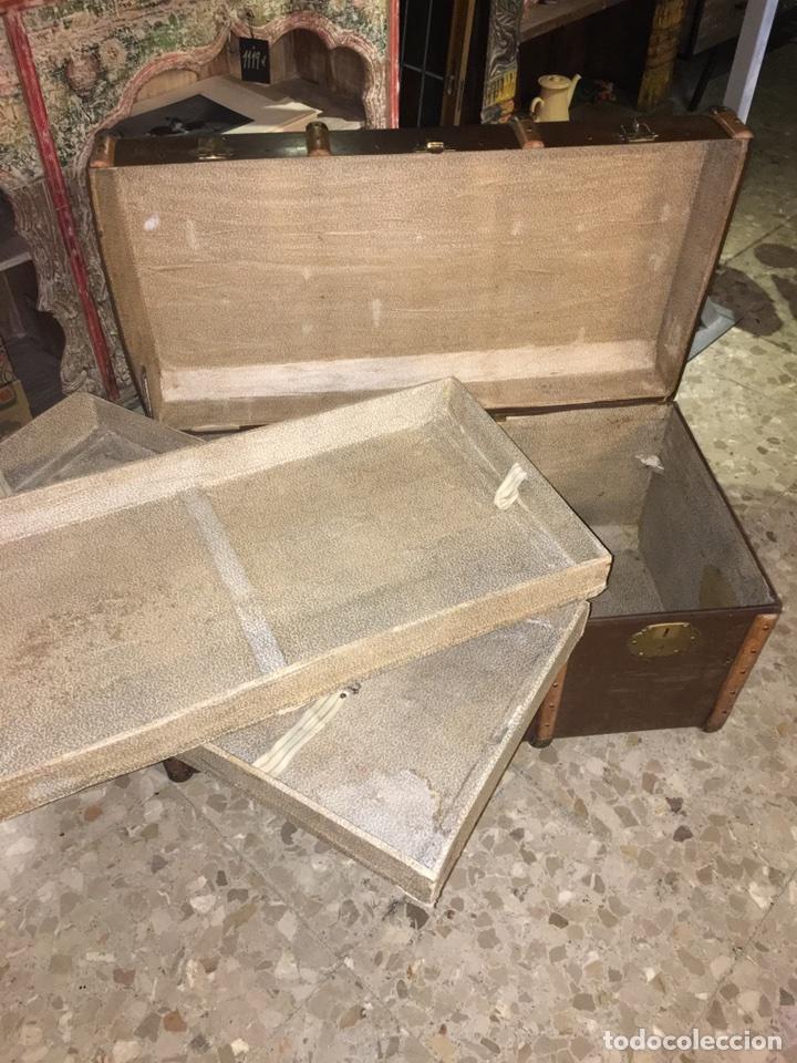 Antigüedades: baúl antiguo arcón de viaje cartone madera y bronce - Foto 12 - 92891747