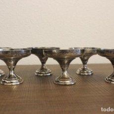 Antigüedades: LOTE 6 COPAS BAJAS DE METAL PLATEADO, SEGURAMENTE ALPACA. Lote 101185023