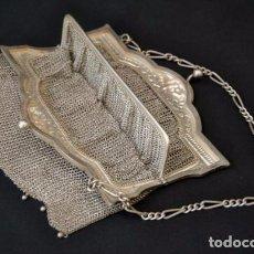 Antigüedades: PLATA DE LEY. PRECIOSO BOLSO DE MALLA DE PLATA . CON DOBLE BOSILLO. FIN S.G.XIX. Lote 92947160