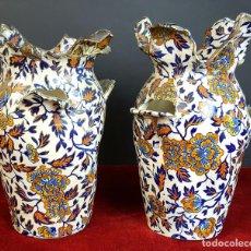 Antigüedades: PAREJA DE JARRONES. CERÁMICA CATALANA ESMALTADA. SIGLO XIX-XX. . Lote 92967090