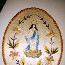 Antigüedades: ORIGINAL ESCAPULARIO VIRGEN INMACULADA BORDADOS EN SEDAS DE COLORES - DETENTE - SEMANA SANTA. Lote 92973935