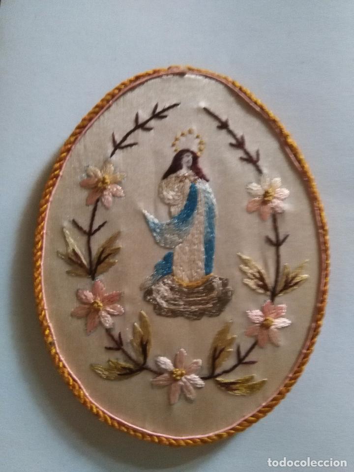 Antigüedades: original escapulario virgen inmaculada bordados en sedas de colores - detente - semana santa - Foto 3 - 92973935