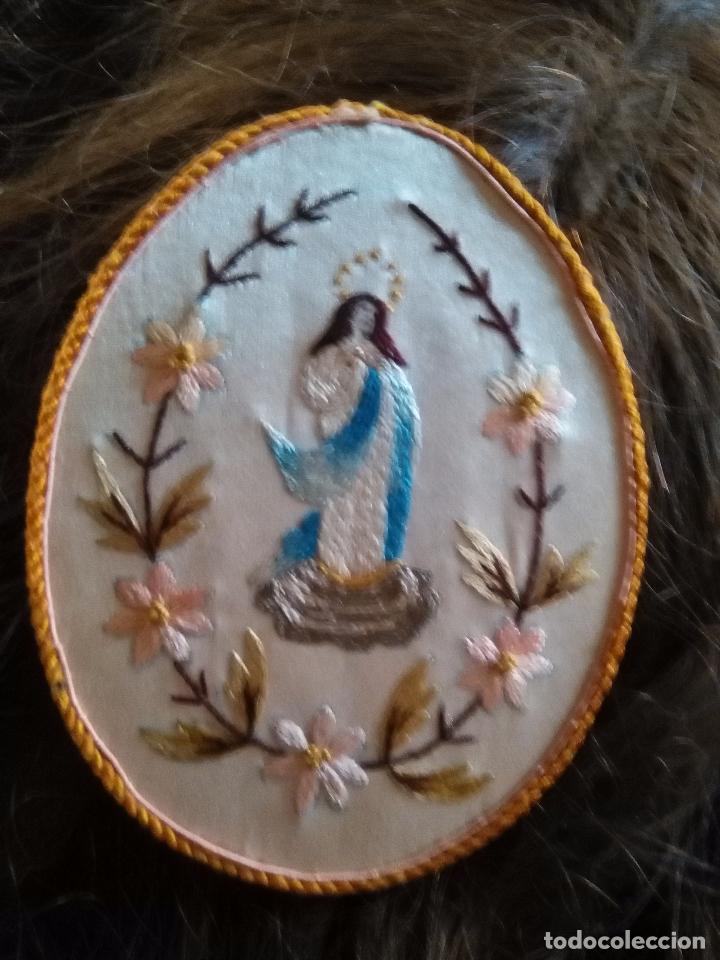 Antigüedades: original escapulario virgen inmaculada bordados en sedas de colores - detente - semana santa - Foto 4 - 92973935