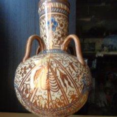 Antigüedades: ORZA O JARRA DE 4 ASAS DE MANISES - CERÁMICA DE REFLEJOS METALICOS - SIGLO XVII- XVIII-. Lote 92974055