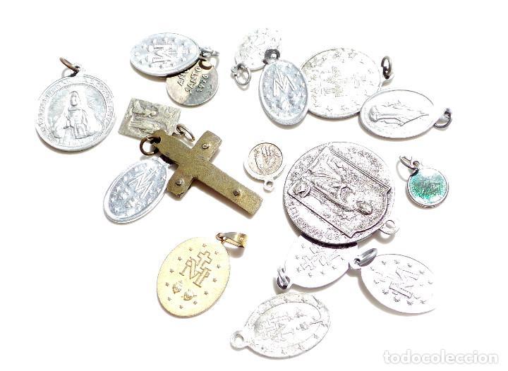 Antigüedades: LOTE DE MEDALLITAS RELIGIOSAS - Foto 2 - 92982270