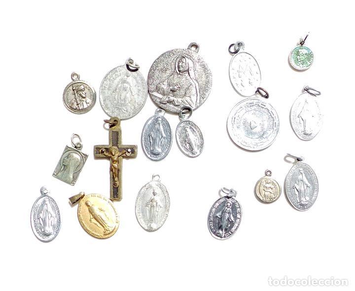 Antigüedades: LOTE DE MEDALLITAS RELIGIOSAS - Foto 3 - 92982270