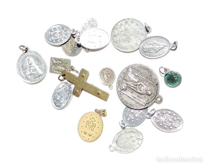 Antigüedades: LOTE DE MEDALLITAS RELIGIOSAS - Foto 4 - 92982270