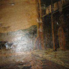 Antigüedades: RARA ENORME Y ANTIGUA PINTURA FIRMA ILEGIBLE OLEO S XIX 110 X 92 CASA PORTUARIA ?. Lote 92985430