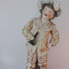 Antigüedades: BISCUITE POLICROMADO, FIGURA DE CABALLERO CON TROMPETA. Lote 92995965