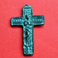 Antigüedades: ANTIGUA MEDALLA-CRUZ BIFAZ INMACULADA Y CRUCIFICADO S.XVII. Lote 92999580