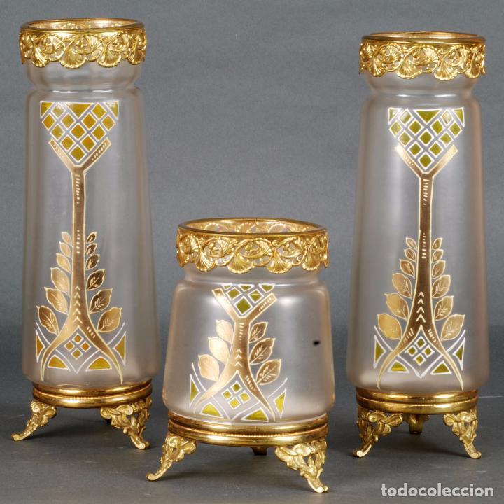grupo jarrones centro cristal esmaltado al fuego y bronce dorado modernista 1920 antigedades hogar - Jarrones De Cristal