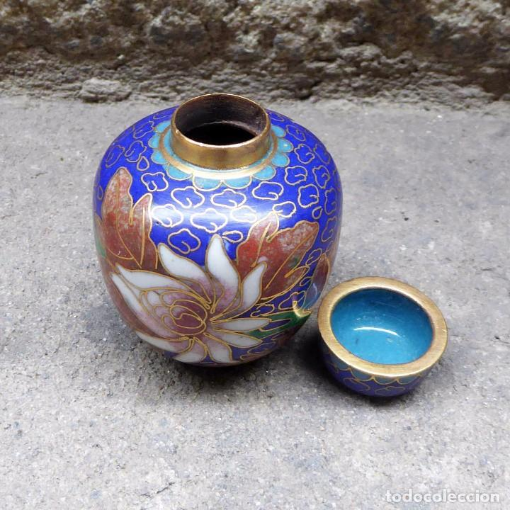 Antigüedades: Pequeño Tibor en Cloisonne - Foto 3 - 93023045