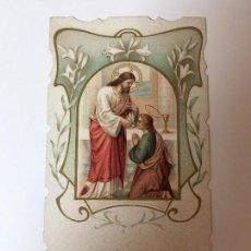 Antigüedades: ESTAMPA MODERNISTA RELIGIOSA, PRIMERA COMUNIÓN ( 1909 ) TEMPLE DE LA SDA. FAMILIA ( BARCELONA ). Lote 93037360