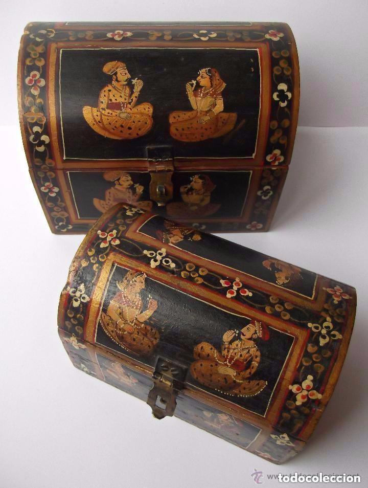 Lote dos baules indios de madera pintados a man comprar cajas antiguas en todocoleccion 93092420 - Baules pintados a mano ...