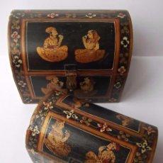 Antigüedades: LOTE DOS BAULES INDIOS DE MADERA PINTADOS A MANO, EN PERFECTO ESTADO SIN ROCES NI MARCAS. Lote 93092420