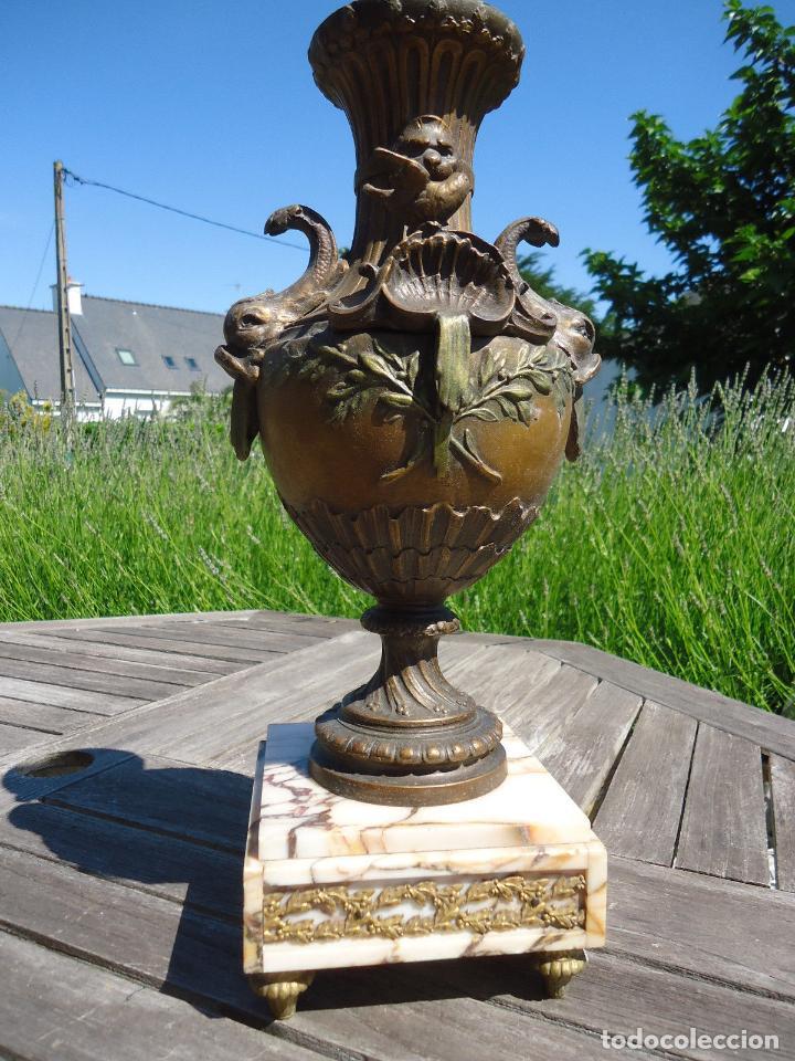 IMPRESIONANTE JARRON SIGLO XIX BRONCE Y MARMOL ALTURA 40 CM PESO 4,450 KG. PERFECTO ESTADO 395,00 (Antigüedades - Hogar y Decoración - Jarrones Antiguos)