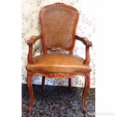 Antigüedades: BUTACA SILLON MODELO LUIS XV PIEL REJILLA. Lote 93150960