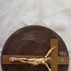 Antigüedades: 48-ANTIGUO CRUCIFIJO DE MADERA Y METAL.. Lote 97197638