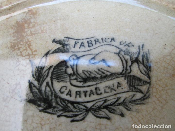 Antigüedades: Plato antiguo de la Fabrica de Cartagena, Fabrica de loza La Amistad. Siglo XIX, 22 Cm. - Foto 4 - 93171305