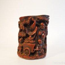 Antigüedades: PORTAPINCELES CHINO TALLADO EN RELIEVE REPLICA RESINA. Lote 93176325