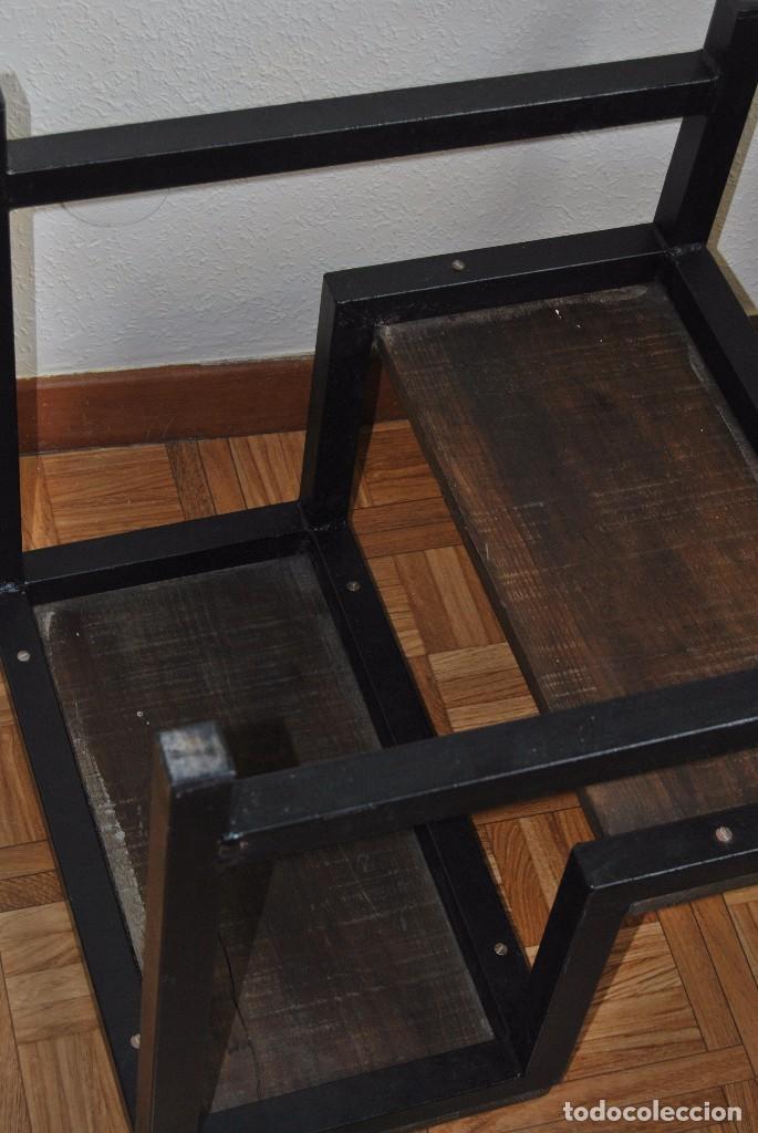 Escalera de hierro y madera dos pelda os ta comprar - Escalera dos peldanos ...
