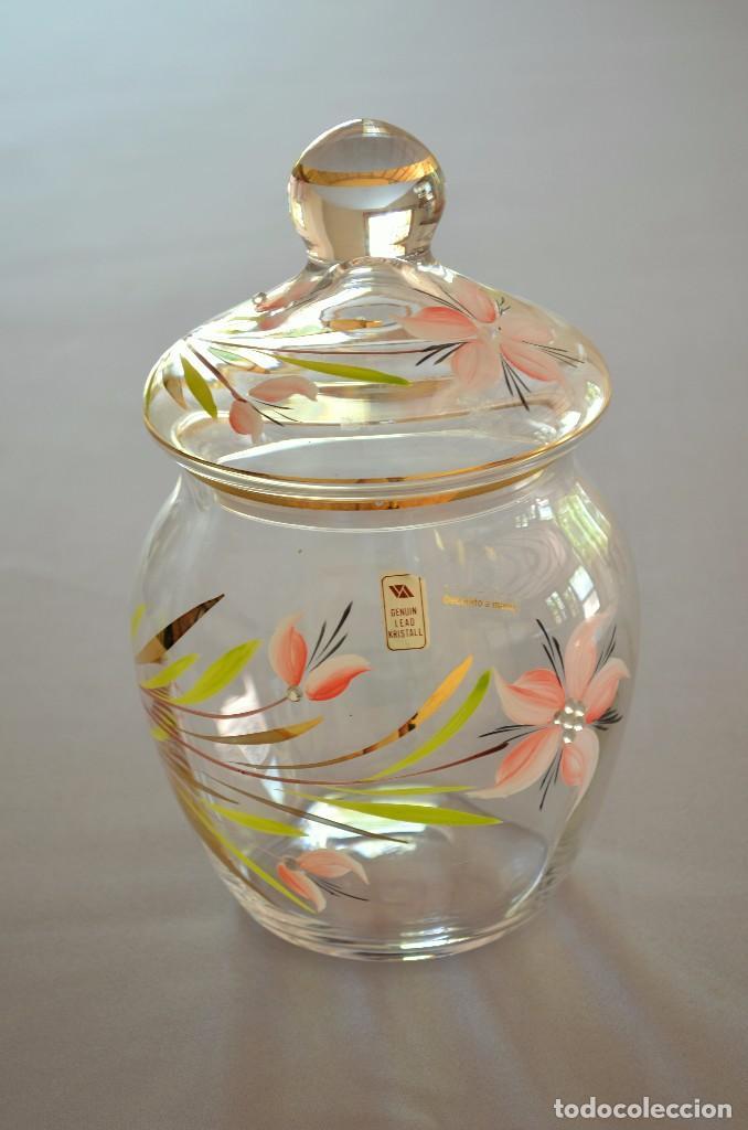 Antigüedades: Bombonera de cristal decorado y firmado - Foto 2 - 93202655