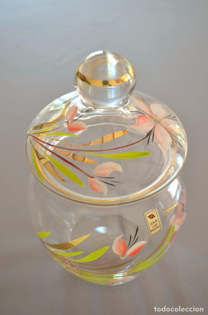 Antigüedades: Bombonera de cristal decorado y firmado - Foto 5 - 93202655