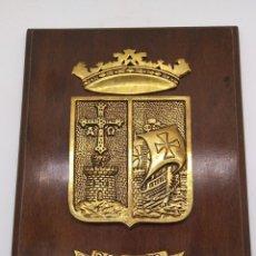 Antigüedades: ANTIGUA METOPA MILITAR DE GRAN CALIDAD DE BRONCE Y MADERA P-29 DEVA.. Lote 93239760