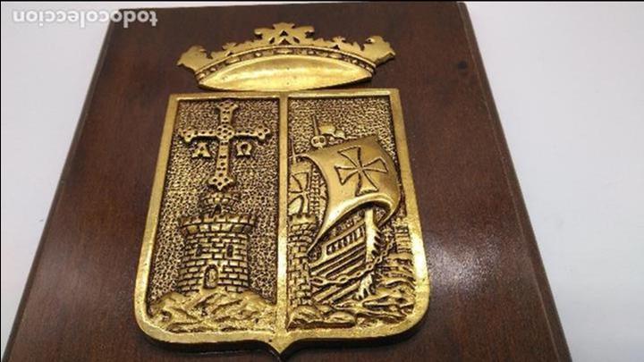 Antigüedades: Antigua metopa militar de gran calidad de bronce y madera P-29 DEVA. - Foto 7 - 93239760